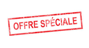 Special offer in French translation in red rectangular stamp. Special offer in French translation in a red rectangular stamp Royalty Free Stock Photography
