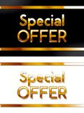 Special offer gold colored black and white banners. Vector illustration Stock Image