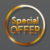 Special offer gold colored circle banner on transparent background. Vector illustration Stock Photos