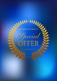 Special offer golden wreath emblem or label Royalty Free Stock Photo