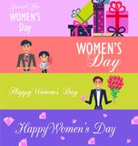 Special Offer for Happy Womens Day Illustration. Special offer for Happy Womens Day poster. Bunch of presents, father and son with tulips and man in tuxedo with stock illustration