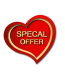 Special offer heart. Special offer red heart in white color background Royalty Free Stock Photo