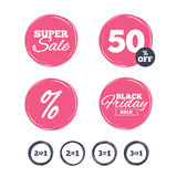 Special offer icons. Take two pay for one sign. Super sale and black friday stickers. Special offer icons. Take two pay for one sign symbols. Profit at saving Royalty Free Stock Photos
