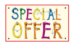 Special offer. Illustration colour coupon with business information Stock Photography
