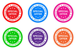 Special offer. Illustration of special offer labels on six colors vector illustration