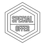 Special offer label icon, outline style Stock Photo