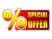Special offer label with percentage symbol. Special offer - red and yellow label with text and percentage sign Royalty Free Stock Photo