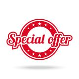 Special offer label. Red color, isolated on white. Vector illustration Royalty Free Stock Photos