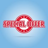 Special offer label. Red color,  on white. Stock Image