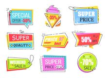 Special Offer Labels with Half Price Reduction. Bright colorful emblems with attractive signs about great discount vector illustrations set royalty free illustration