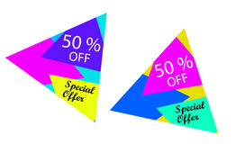 Special offer, 50 % off. Abstract and colorful banners or labels. Special offer, 50 % off Stock Photos