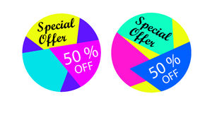 Special offer, 50 % off. Abstract and colorful banners or labels. Special offer, 50 % off Royalty Free Stock Photos
