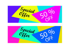 Special offer, 50 % off. Abstract and colorful banners or labels. Special offer, 50 % off Stock Images