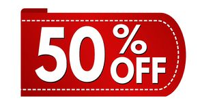 Special offer 50 % off banner design. On white background, vector illustration royalty free illustration