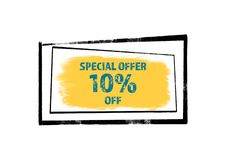 Special Offer 10 off concept. Painted, abstract advertising background stock illustration