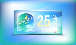 Special offer 25 discount in bright rectangular poster format and flyer. Super sale template for print and web advertising banner. Special offer 25 off discount Stock Photos