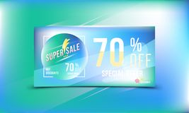 Special offer 70 discount in bright rectangular poster format and flyer. Super sale template for print and web advertising banner. Special offer 70 off discount Royalty Free Illustration