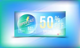 Special offer 50 discount in bright rectangular poster format and flyer. Super sale template for print and web advertising banner Stock Photos
