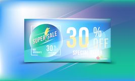 Special offer 30 discount in bright rectangular poster format and flyer. Super sale template for print and web advertising banner. Special offer 30 off discount Royalty Free Stock Images