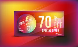 Special offer 70 discount in bright rectangular poster format and flyer. Super sale template for print and web advertising banner. Special offer 70 off discount Vector Illustration