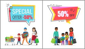 Special Offer with 50 Off for Family Shopping. Parents with children holds huge bags with purchases and carry full trolley vector illustrations Royalty Free Stock Images