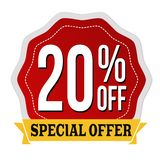 Special offer 20% off label or sticker. On white background, vector illustration stock illustration