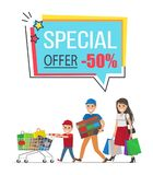 Special Offer with 50 Off Promotional Poster. Mother and two sons carry full paper bags, heavy boxes and small trolley vector illustration Stock Photos