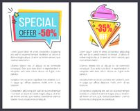 Special Offer with 35 Off Promotional Posters. With huge attractive sign on icecream shape and rectangular background vector illustrations set Royalty Free Stock Photography