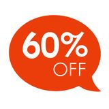 Special offer 60% off sale red speech bubble tag vector illustration Royalty Free Stock Images