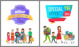 Special Offer Order Now Colorful Discount Banner. Vector illustration with advertising text isolated on lilac and blue backgrounds, joyful families Stock Image