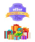 Special Offer Order Now 75 Off Emblem with Ribbon stock illustration