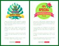 Special Offer Order Today Off Promo Posters Set. Special offer order today with 15 off advert posters set. Summer sale emblems tropical plant leaf. Exclusive Vector Illustration