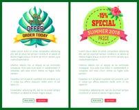 Special Offer Order Today Off Promo Posters Set. Special offer order today with 15 off advert posters set. Summer sale emblems tropical plant leaf. Exclusive vector illustration