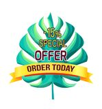 Special Offer Order Today with 15 Off Promo Logo. Special offer order today 15 off promo logo. Summer sale emblem with tropical plant leaf. Exclusive price royalty free illustration