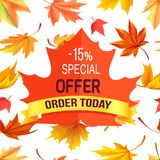 Special Offer - 15 Order Today Promo Advertisement. On red maple leaf on background of foliage icons isolated on white vector illustration poster vector illustration
