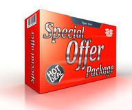Special offer package concept red advertisement Stock Photos