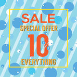 Special Offer 10 Percent On Colorful Blue Bubbles And Stripes. Stock Photos