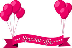 Special offer pink flat ribbon with balloons Stock Photography