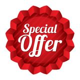 Special offer price tag. Red round star sticker. Stock Image