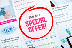 Special offer proposal. Internet advertisement with text SPECIAL OFFER and red circle selection around Stock Images