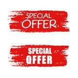 Special offer on red drawn banner Royalty Free Stock Images