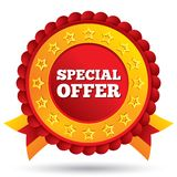 Special offer red label with stars and ribbons Royalty Free Stock Photo