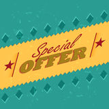 Special offer retro label. Special offer - retro style label with text, rhombs and stars, business concept Stock Photography