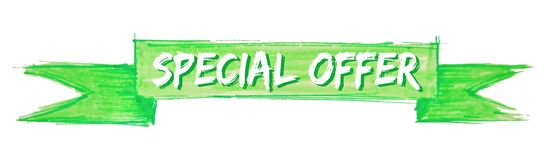 Special offer ribbon. Special offer hand painted ribbon sign vector illustration