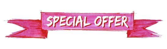 Special offer ribbon. Special offer hand painted ribbon sign stock illustration