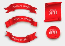 Special offer  ribbon.Red scroll. Banner sale tag. Market special offer discount. Special offer  ribbon.Red scroll. Banner sale tag Stock Photos