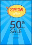 Special Offer Sale Advertisement 50 Off Poster. Special offer sale advertisement 50 off promotional poster with half price reduction vector with button shop now vector illustration