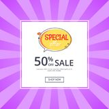 Special Offer Sale Advertisement 50 Off Poster. Special offer sale advertisement 50 off promotional poster with half price reduction vector with button shop now stock illustration