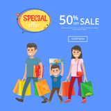 Special Offer Sale Advertisement Online Poster 50. And family returned from shopping with bags vector with mother father and son, discounts info Royalty Free Stock Photo