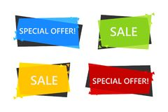 Special offer sale banner for your design . discount clearance event festival . minimal style . sticker price tag . badge Royalty Free Stock Photos